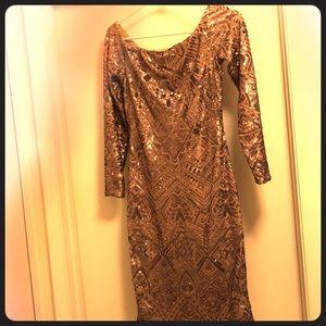 Gold sequin BCBG maxazria mini dress